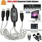 5-Pin MIDI Cable Adapter PC Converter line Music Editor To USB/Keyboard Piano