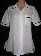 Laura Ashley vintage spring'95 soft linen nautical-sailor look blouse-shirt 10UK