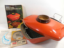 Vintage Fissler Asta Enamelware Orange Roasting Pan Covered Cooker Dish Germany