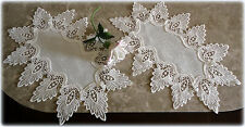 Oval Doilies Set of Two Antique White Dresser Scarf Formal European Lace
