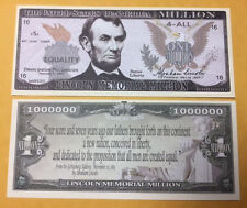 ABE LINCOLN THE UNITED STATES MEMORIAL MILLION DOLLAR BILL FAKE BILL LOT OF 10