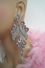"""DRAG QUEEN HUGE CZ PINK CHANDELIER EARRINGS PAGEANT BRIDAL COSTUME COCKTAIL 5""""L"""