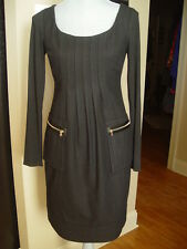 Phoebe Couture dress Solid Black Long Sleeve Rayon Blend Shift Size 4  D4