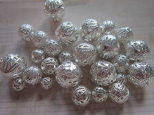 30 x Iron Filigree Beads Silver Color round mix 6-16mm findings