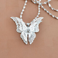 Donna Signora Ragazza Placcati Argento Adorabile Farfalla Collana Con Ciondolo