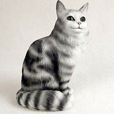 MAINE COON SILVER CAT Figurine Statue Hand Painted Resin Gift