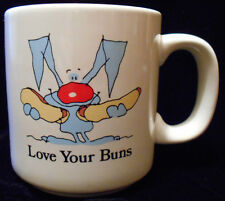 Coffee Mug Tea Cup Love Your Buns Russ Berrie Rabbit Hotdogs  #8014 5n51