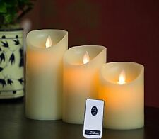 3 Piece Moving Flame Wick Candle Set with Remote Included. Flameless Light Timer