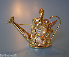 SWAROVSKI CRYSTAL ELEMENTS WATERING CAN & HUMMINGBIRD FIGURINE 24KT GOLD PLATED