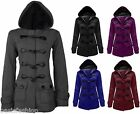 NEW WOMENS LADIES HOODED DUFFLE TRENCH COAT JACKET WITH HOOD & TOGGLE SIZE 8-26