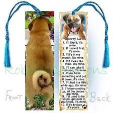 Puggle Dog Large Bookmark w/Tassel Bug Pug Beagle Rules Property Law Book Card