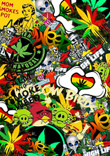 3 x A4 Sticker Bomb Sheet - WEED RASTA SMOKE - Design 475 - (210MM x 297MM)