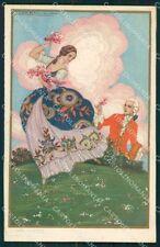 Corbella Italian Art Deco Romantic Couple Degami serie 2158 postcard QT6746