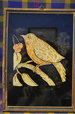 Primitive Tin Soil Art Painting of Robin Red Breast by J. Petersom in 1938-NICE