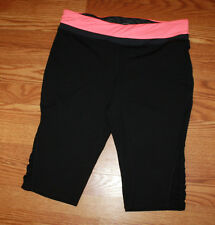 NWT Womens TANGERINE Black Coral Waist Active Exercise Shorts Capris S