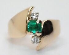 Women'14K Yellow Gold .70 Ct Princess Emerald & Diamond Cocktail Ring Size 7.25