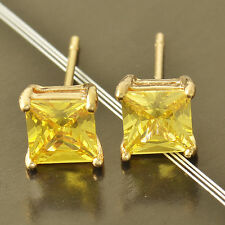 7 mm 9K Yellow Solid Gold Filled Apple Green CZ Womens Square Stud Earrings