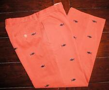 J CREW Nantucket Red Fish Embroidered Casual Flat Front Chino Pants Men Sz 34x30