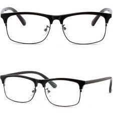 Herren Damen Brille Kunststoff Brillengestell Square Fassungen Browline Schwarz
