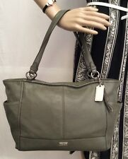 COACH PARK OLIVE GREEN PEBBLE LEATHER CARRIE TOTE BAG HANDBAG CARRYALL F29898