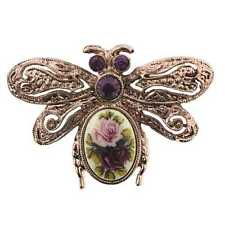 1928 Womens Purple Multi-Color Crystal Bee Shape Pin Decorative Brooch 31987 NEW