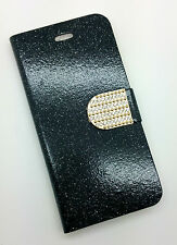 IPHONE 6 PHONE CASE RHINESTONE BLING PRESENT GIFT FLIP CASE BLACK