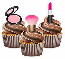 Lipstick Blush Ladies Birthday Party 12 Cup Cake Toppers Edible Decorations