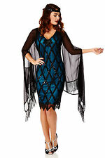 Abigail Black Fringe Shawl Cape Bolero Shrug with Beaded Armhole