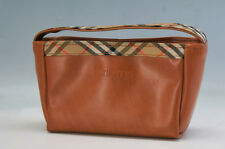 Authentic BURBERRY Leather Pouch Bag in Bag Brown Mint 535f02