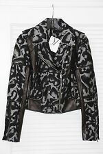$798 NWT DVF Diane von Furstenberg Theodora Leopard Leather Wool Grey Jacket 2