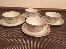 """Limoges """"POY83"""" J Pouyat France ~ Set of 4 ~ Cups & Saucers ~ 2"""" Tall"""