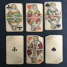 Lot de 6 Cartes A Jouer Anciennes Début XIXè Antique French Playing Cards 19thC