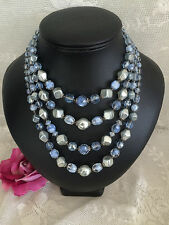 PERFECT Vintage 1950s Four Strand AB Givre Beads Necklace Signed WESTERN GERMANY