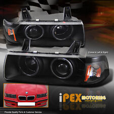 92-98 BMW E36 2Dr Coupe / Convertible Halo LED Projector Black Head Light Lamps