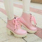 Fashion Ladies Roma Chunky heel Lace Up Punk Platform Ankle boots 4 Color UK2-9