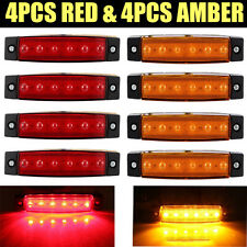 4PCS RED + 4PCS AMBER Truck Buses CAR Trailer Side Marker Indicators Lights Lamp