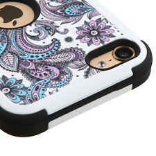 for iPod Touch 5th / 6th Gen -PURPLE AZTEC FLOWER Hybrid Impact Armor Case Cover