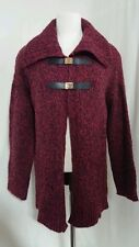 NWT! Michael by Michael Kors Leather Buckle Cardigan, Sweatercoat, Ruby $225, M