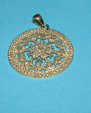 STUNNING SECONDHAND 9ct YELLOW GOLD DIAMOND SET ROUND PENDANT