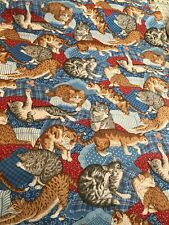 PLAYFUL CATS AND KITTENS cotton OOP Fabric per yard quilting sewing crafts