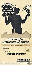 Sächsische paese LOTTERIA ORIG. la pubblicità 1935 LOTTO TOTO Lipsia Dresda Hermes