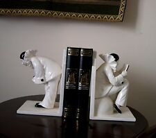 PAIR VTG ART DECO CERAMIC BOOKENDS PIEROT CLOWNS by SIGMA DESIGN, MADE IN JAPAN