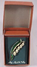 Vintage Enamel Lily Of The Valley Brooch Pin Rare Faux Pearls May Flower Mint