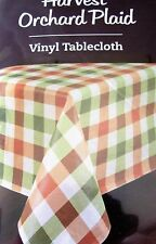 "Harvest Tablecloth Orchard Plaid Vinyl With Polyester Backing 60 X 84"" Oblong"