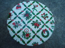 Pretty Tin W/ Holly Squares and Christmas Motifs Inside Each Square 7 Inches Dia