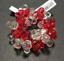 Disney Parks Mickey Mouse Icon Christmas Holiday Red Beaded Bracelet Faceted NEW