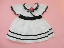 PRETTY VINTAGE WHITE & BLACK W FLORAL  TRIM DOLL DRESS