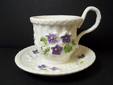 Pottery candle holder tea cup with attached saucer  VIOLETS