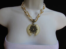 NEW WOMEN STRANDS FASHION NECKLACE WHITE GLASS FLOWER PENDANT RHINESTONES 10""