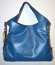 NWT Michael Kors Steel Blue Devon Large Slouchy Leather Shoulder Tote Bag Purse